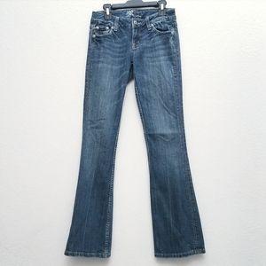 Miss Me Fleur De Lis Flap Pocket Boot Cut Jeans